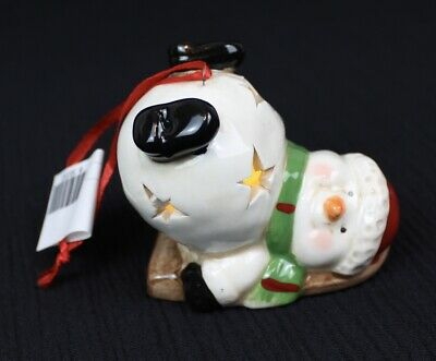 New Small Ceramic Snowman Christmas Figurine Lights Up Cut Out Stars Style A