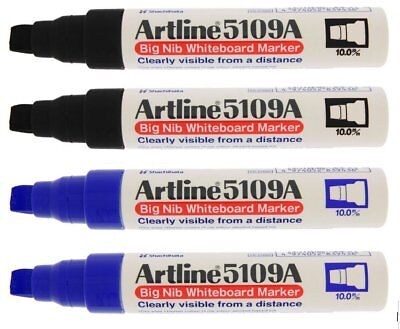 Artline 5109a Big Nib Whiteboard Markers - 2 Black 2 Blue 10mm