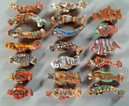 Very Rare Phoenician Glass Fish 6 cm - 7 cm totally 20 pcs