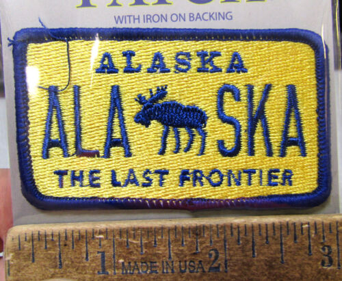 Embroidered Alaska Patch - Alaska Bull Moose License Plate Style Patch, NEW