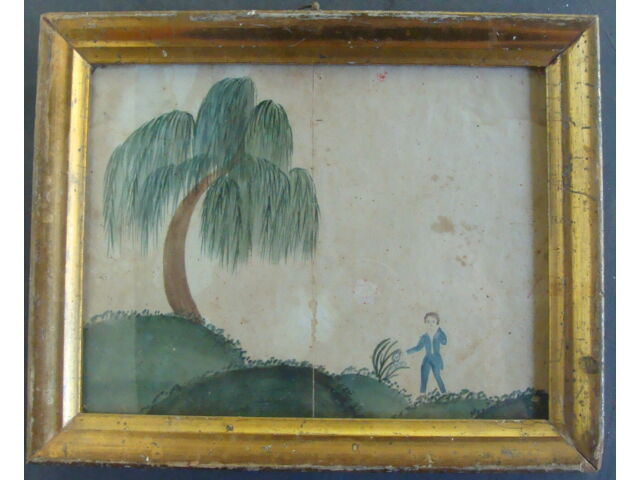 Early 19th C child's watercolor, original gold gilt frame