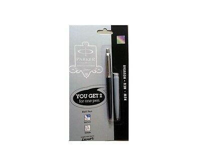 Parker Jotter CT Ball Point Pen Black & Grey Body, Blue Ink, Fine Nib 0.8mm, New