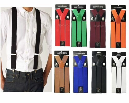 "1x Adult Mens Clip-on 1.5"" Wide Suspenders Elastic Y-shape Suspender New"