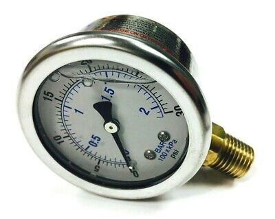 110822 Quincy Oil Pressure Gauge 14 Bottom Back Mount 0-30 Psi Liquid Filled