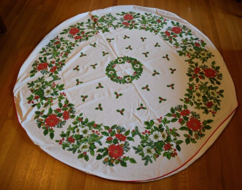 """Vintage Mid Century Christmas Holiday Tablecloth 68"""" Round Poinsettia Holly"""