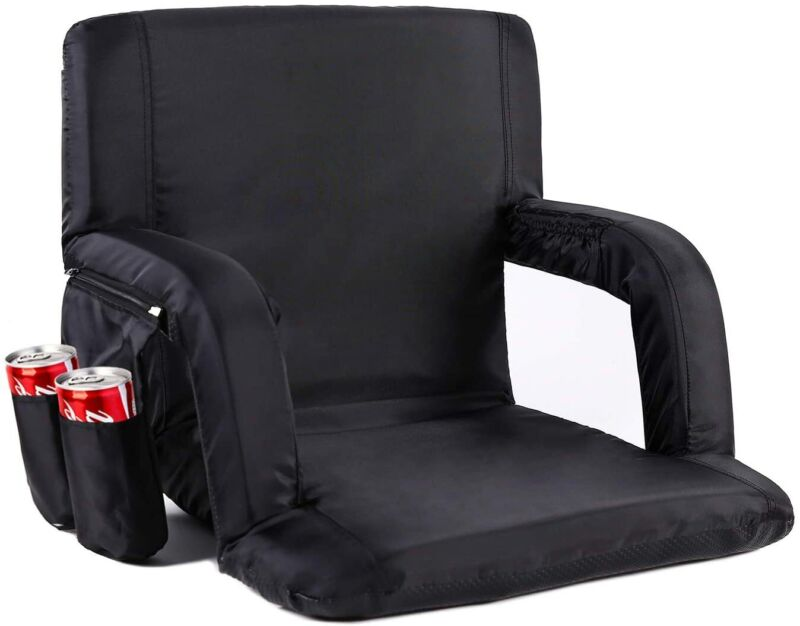 Sportneer Wide Stadium Seat Chair, Portable Reclining Seat for Benches Black