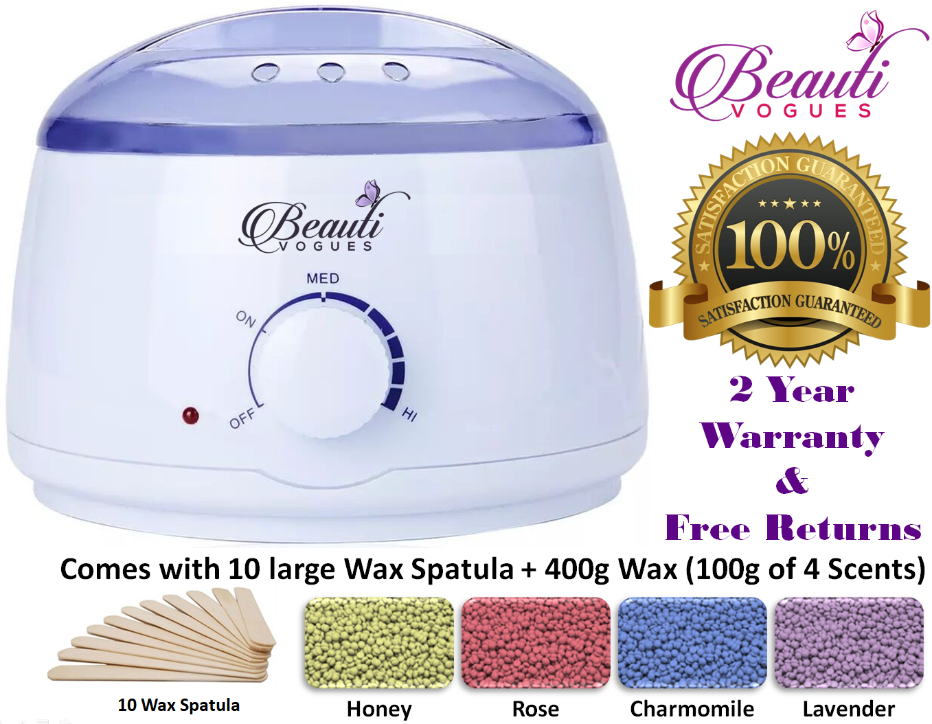 Hair Removal Hot Wax Electric Warmer Waxing Kit + 400g Hard