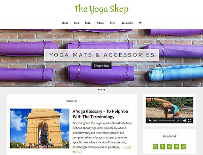 New Design Yoga Store Blog Website Business For Sale Turnkey Auto Content