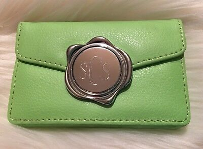 Personalized (sCs) Green Faux Leather Business Card Holder ()