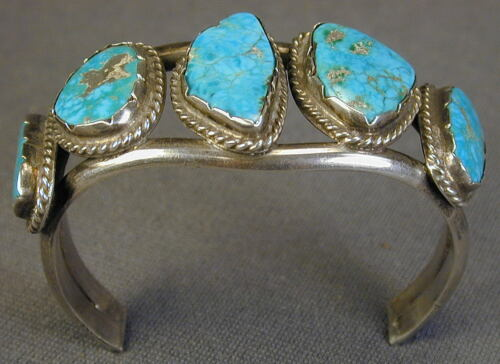 Vintage South West Silver and Turquoise Cuff Bracelet - Ship to N. America Only