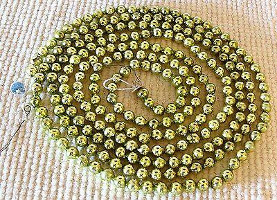 VINTAGE Christmas Tree CHARTREUSE GREEN Mercury Glass LG BEAD GARLAND 8 FT #1