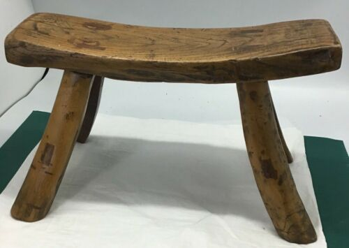 "Primitive Hand Made Antique 8"" Milking Stool, Mortice & Tenon Joints, Patina"