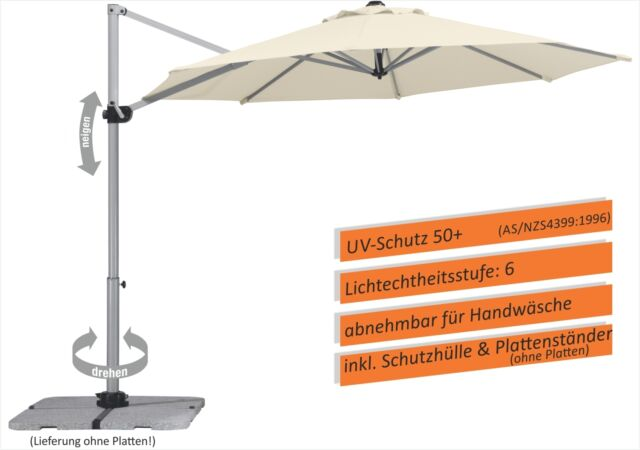 Schneider Classics Ampelschirm Samos 300 cm Ø natur Sonnenschutz Schirm NEU