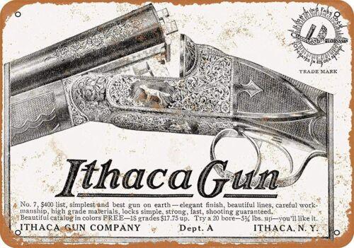 ITHACA SHOTGUN TIN SIGN HAND CARVED ENGRAVED 12 GAUGE 20 410 RABBIT PHEASANT