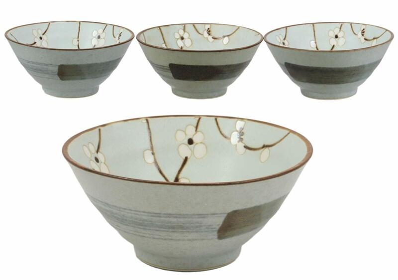 "Ebros Made In Japan 5""Diameter Light Blue Plum Sakura Bowls 10 oz Set of 4"