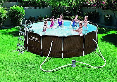 Swimming Pool Set Filter Pump Ladder Rattan Garden Steel Frame Round 12ft x 39.5