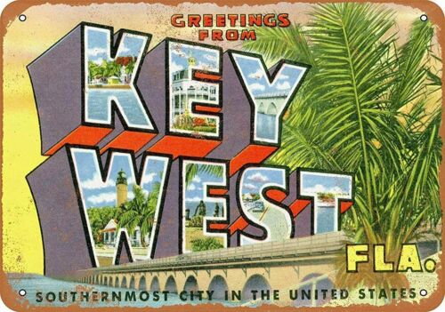 Greetings from Key West Florida Aluminum Metal Sign 8 x 12 Inch