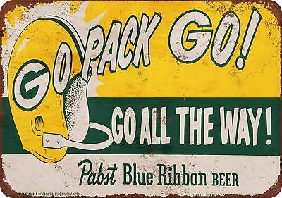 """1961 Packers and Pabst Blue Ribbon Vintage Rustic Retro Metal Sign 8"""" x 12"""""""