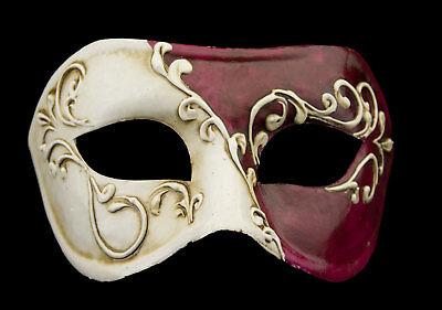 Mask from Venice Colombine White Bordeaux Paper Mache Craft 22360 - V3B