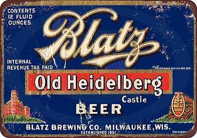 """Blatz Old Heidelberg Beer Vintage Retro Metal Sign 8"""" x 12"""""""
