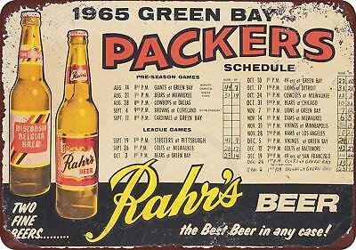 "1965 Green bay Packers Rahr's Beer Vintage Retro Metal Sign 8"" x 12"""