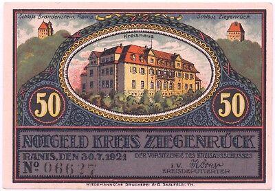 Notgeld Kreis Ziegenrück Schloss Brandenstein 50 Pfennig Geplante Saaletalsperre