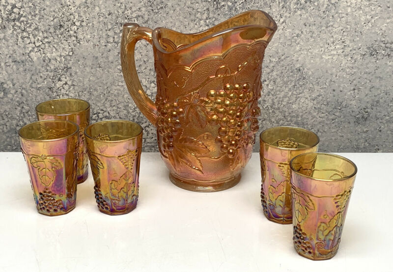 Vintage Imperial Glass Marigold Orange Carnival Glass Pitcher Grape 5 Glasses