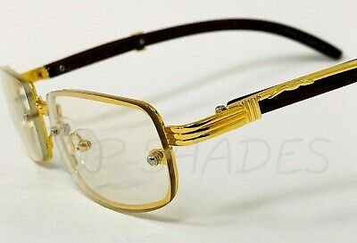 Fashion Gold Metal Frame Clear Lens Wood Buffs Rap Hip-hop Square Migos Glasses -
