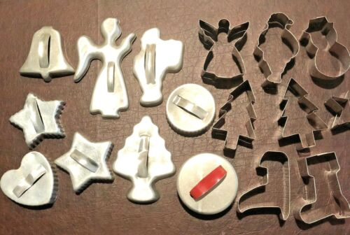 Christmas Aluminum Cookie Cutters Vintage Lot of 17