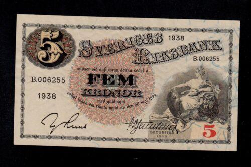 SWEDEN 5 KRONOR 1938 B PICK # 33u AU-UNC.