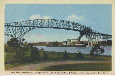 Blue Water International Bridge Over St  Clair  Near Sarnia On Ontario Postcard