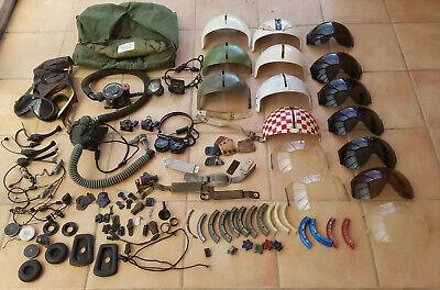 Vietnam - era flight helmet accessories lot: visors, hood, 02 mask, bag & more