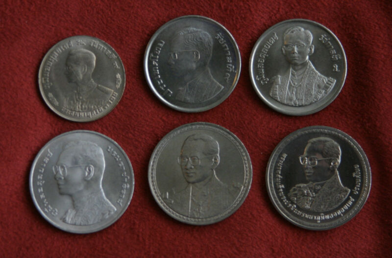 King Bhumibol Adulyadej Rama IX  Birthdays 6 Coin Set 1963 - 2007 Thailand a