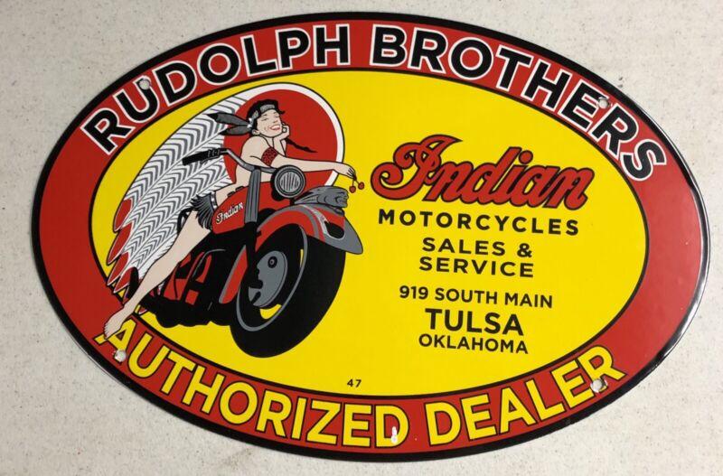 "VINTAGE DATED 1947 INDIAN MOTORCYCLE 16.5"" PORCELAIN METAL GAS OIL SIGN!"