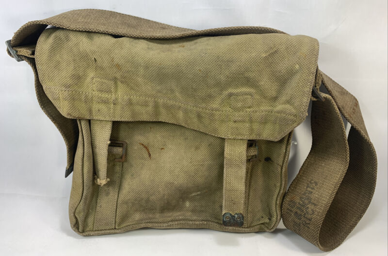 British Canadian WW1 Small Pack Haversack Pouch Bag Khaki Webbed Canvas Brass