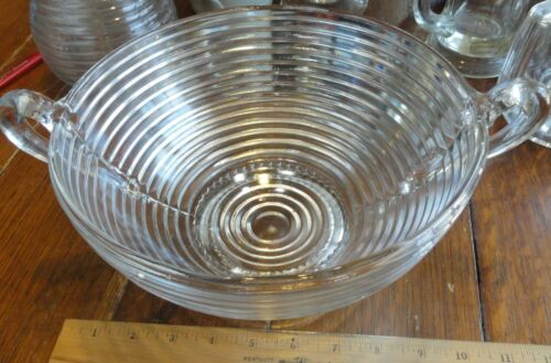 Vintage  Deco Clear Glass Manhattan  Pattern tilted footed bowl arched handles