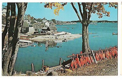 STONINGTON DEER ISLE Red Floats Dock Boats Water  MAINE Postcard ME 1976 KOPPEL