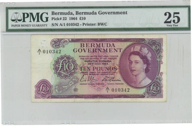Bermuda 10 Pounds 1964 Pick 22 Pmg 25 Very Fine - Ultra Rare Note