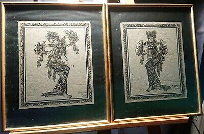 Paire de peintures sur tissu danseuses de Bali Batuan Indonésie rehaussé à l'or