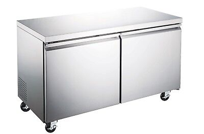 48 Commercial Double Door Under-counter Stainless Steel Worktable Freezer Nsf