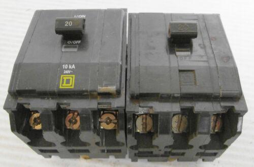 (2) Square D Type QOB Circuit Breakers 2P 20A 240VAC