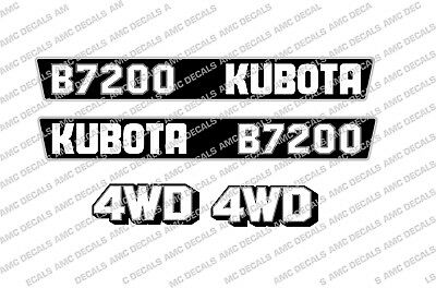 Kubota B7200 Compact Tractor Bonnet Decal Sticker Set