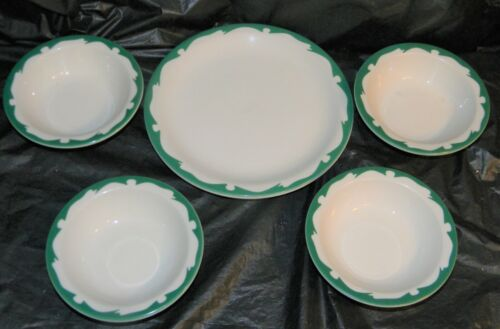 Buffalo China Green Scroll Edged Dessert Plate & 4 Berry Bowls Restaurant Ware?