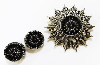 Vintage Onyx silver star shape brooch pin pendant round earring set  (Onyx Set Brooch)