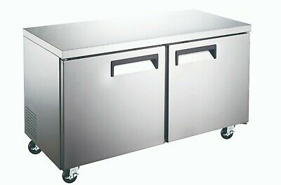 Under Counter Refrigerator Cooler Stainless Commercial Double Door 48 Nib