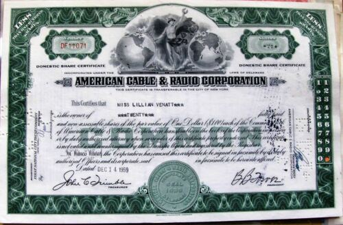 Stock Certificate American Cable & Radio Corporation New York state green