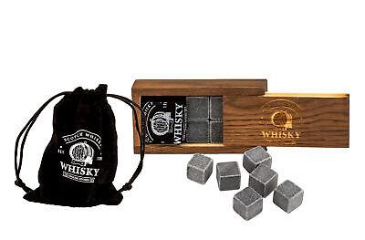 6x Whisky Kühlsteine wiederverwendbar Whiskey Eiswürfel Speckstein Zubehör Set