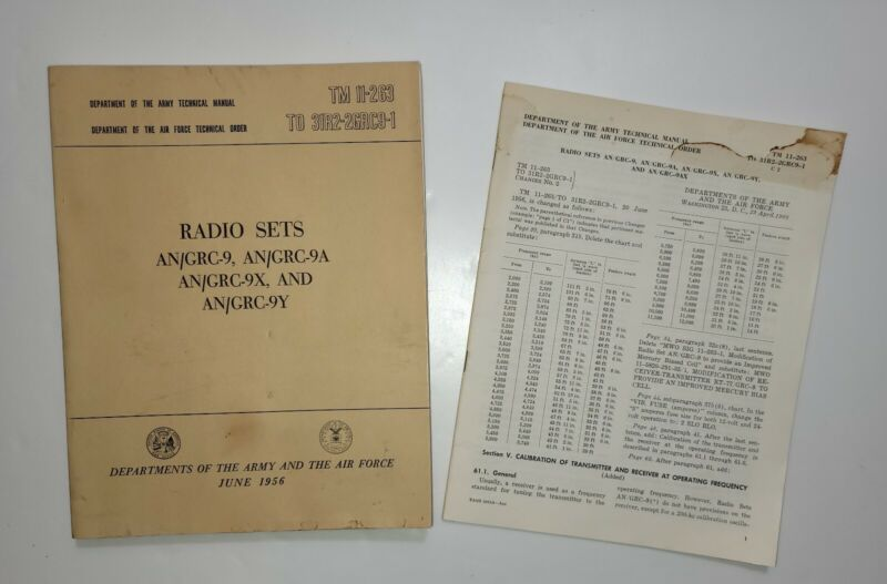 Manual for RADIO SETS AN/GRC-9 AN/GRC-9A AN/GRC-9X. Including Change booklet