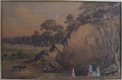 ANTIQUE AMERICAN FOLK ART PRE CIVIL WAR FARMING FAMILY FASHION FINE PAINTING