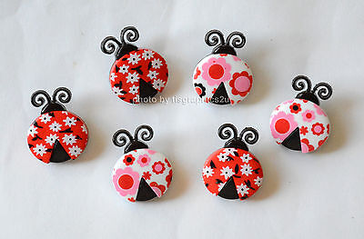 Ladybug Love / Dress It Up Buttons Jesse James  / Shank Buttons / Retro Love - Love Bug Ladybug